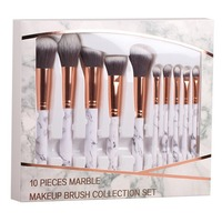 Coshine 10pcs Set Professional Marble Makeup Brushes Collection Set For Loose Powder Contour Shade Highlighter Eyeshadow