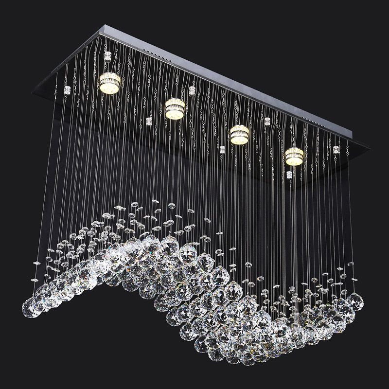 Modern Crystal Chandelier LED Lustre Ceiling Lamp Deco Chandeliers 85-265V Home Lighting Fixtures Living Room Pendientes