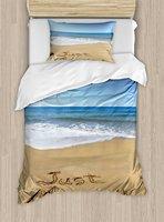Свадебные Набор пододеяльников для пуховых одеял набор молодожены написано на песчаном пляже волны океана Романтический фото праздновани