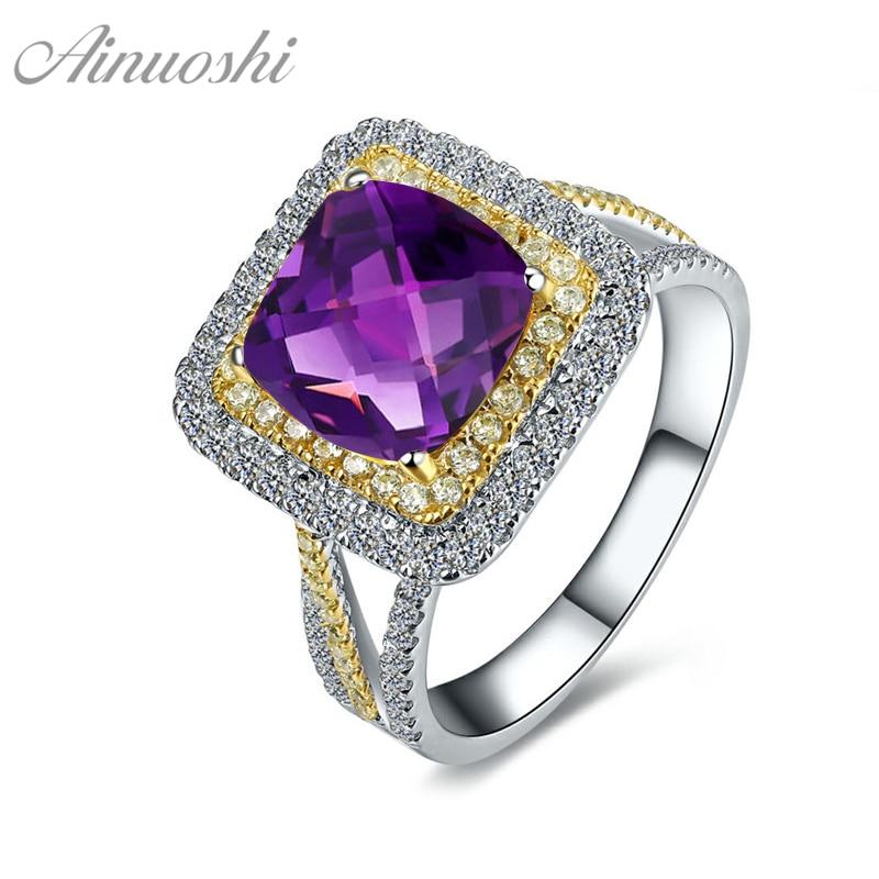 AINUOSHI naturel améthyste jaune Halo anneau 2.5ct coussin taille gemmes de fiançailles parti femmes bijoux 925 en argent Sterling anneau carré