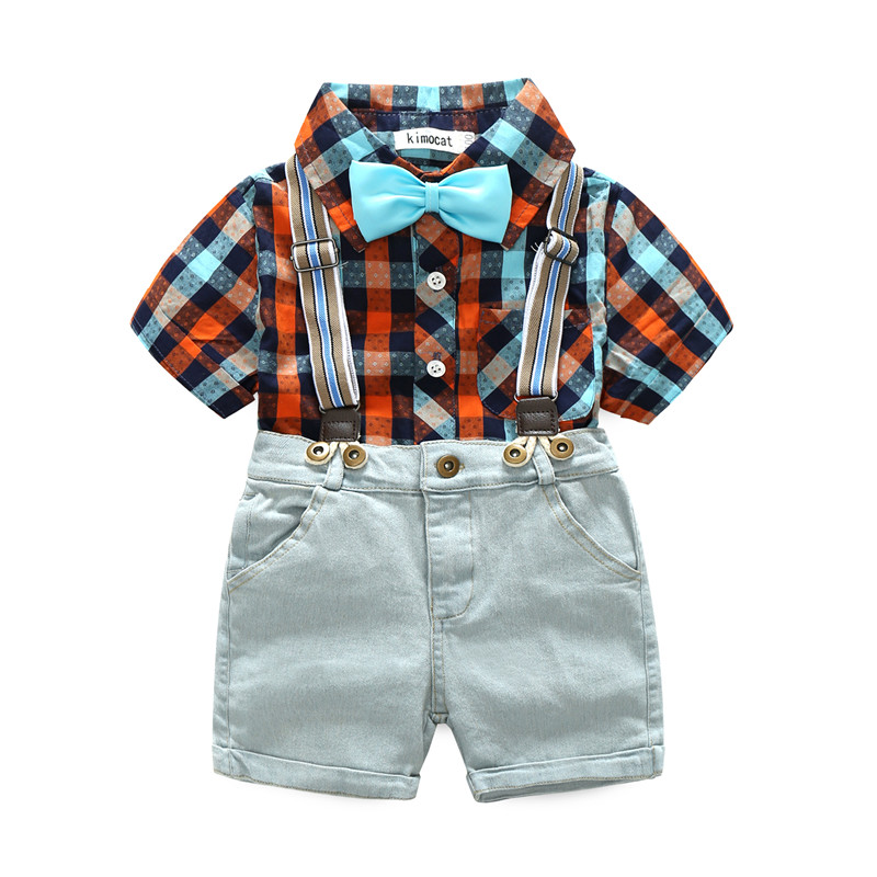 Baby Boy Clothing Sets Bebes Shorts Suspender Pants+Bow Tie Shirts Summer Kids Outfits Toddler Children Cotton Tracksuit Clothes 2017 denim romper newborn baby boy girl summer sleeveless pocket clothes toddler kids jumpsuit sunsuit children clothing outfits