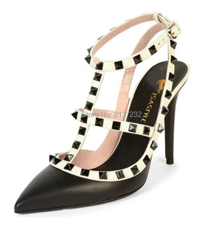 ФОТО 2016 New Fashion Pointed toe stiletto Women's Shoes T-strap Gladiator buckle strap sandals rivets Pumps for wending big size15