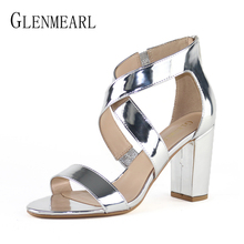 Women Sandals Summer Shoes High Heels Open Toe Ankle Strap Shoes Woman Thick Heel Plus Size Sandals Female  Gold Free ShippingDO