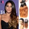 1B 27 Blonde Ombre Human Hair With Closure Straight Raw Indian Virgin Hair Lace Closure With Human Hair Bundles Vip Beauty Hair
