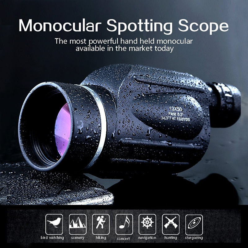 GOMU 13X50 Waterproof Monocular HD Powerful Telescope Eyepiece for birdwatching High quality with Rangefinder Outdoor Hunting