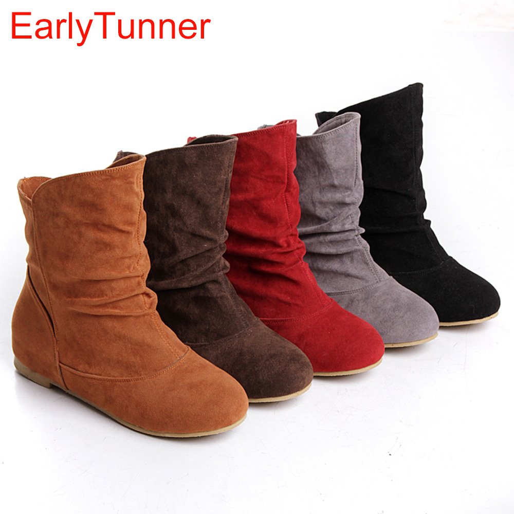 Hot Sales Black Yellow Red Brown Gray Flats Women Slouch Ankle Boots Solid Ladies Winter Nude Shoes AA-3 Nubuck armoire hot sales black yellow red brown gray flats women slouch ankle boots solid ladies winter nude shoes aa 3 nubuck