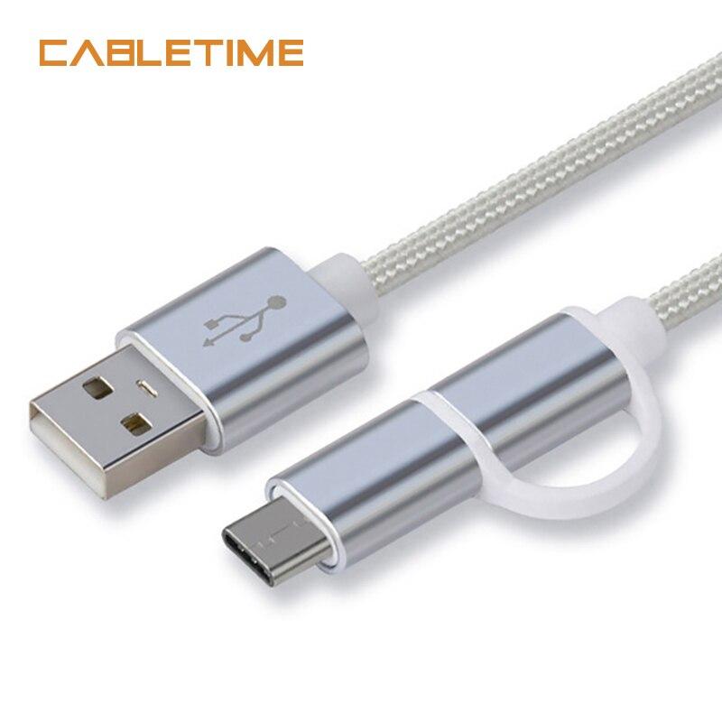 Digital Kabel Zubehör Und Ersatzteile GemäßIgt Cabletime Micro Usb-kabel 2in1 Usb Typ C Kabel Schnelle Ladegerät Datum Usb C Micro Usb-kabel Für Macbook Xiaomi Huawei Android N061 Rabatte Verkauf