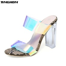 TINGHON Women Pumps Square High Heels Transparent Shoes Gladiator Female peep Toe clear heels jelly Slippers Clear