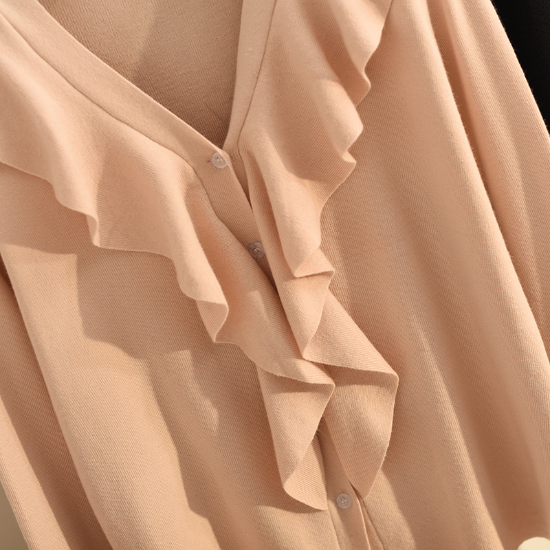 Chart Brief Sleeve Edition Horn Cardigan Chart Coat Unlined Falbala Render Upper see Sweater Han Autumn See Paragraph Loose Garment qSt4Yxza