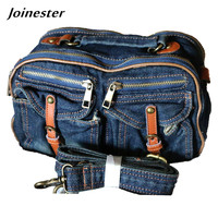 2018 women's casual denim shoulder bag purse pure color blue jeans doctor style classic handbag girls' traveling crossbody bag