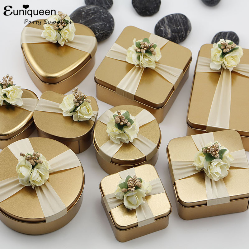 1pc Wedding Candy Box Romantic Heart Metal Gift Bag With Flowers