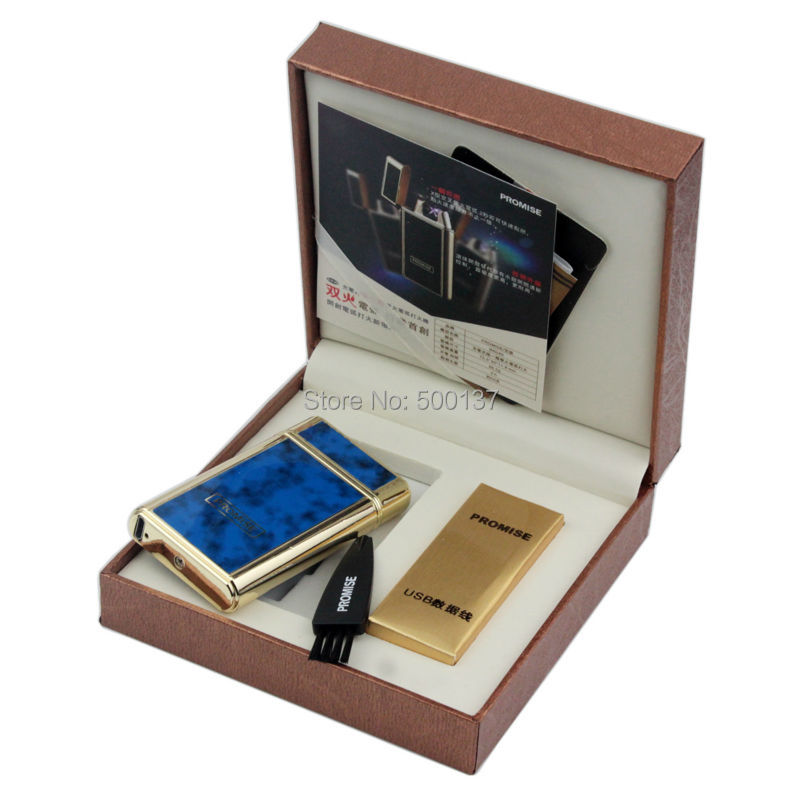 FIREDOG Blue Luxury Shake Sway Electric X Double Arc Ignition Rechargeable Cigarette Lighter With Gift Box