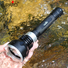 YUPARD XM L2 LED T6 라이트 램프 수중 다이빙 다이버 손전등 토치 방수 18650 충전식 배터리 화이트 옐로우 라이트
