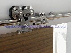 Envío Gratis Dimon SUS 304 mancha de alta calidad dos cabezas de madera deslizante puerta hardware DM-SDS 7102 sin carril deslizante