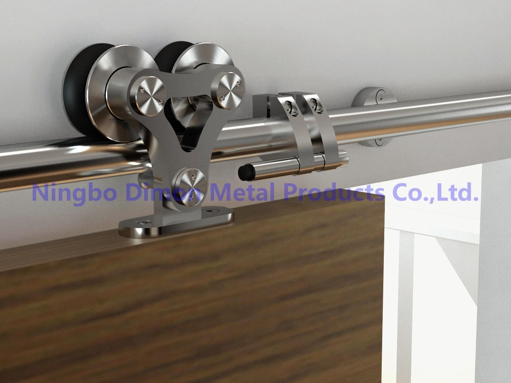 Free Shipping Dimon SUS 304 Stain High Quality Two Heads Wood Sliding Door Hardware DM-SDS 7102 Without Sliding Rail