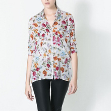 Show School Women Cotton Blouse Gaudy Floral Print Shirt Long Sleeve Lapel Shirt Wild Casual Blouse Elegant OL Tops EC5248