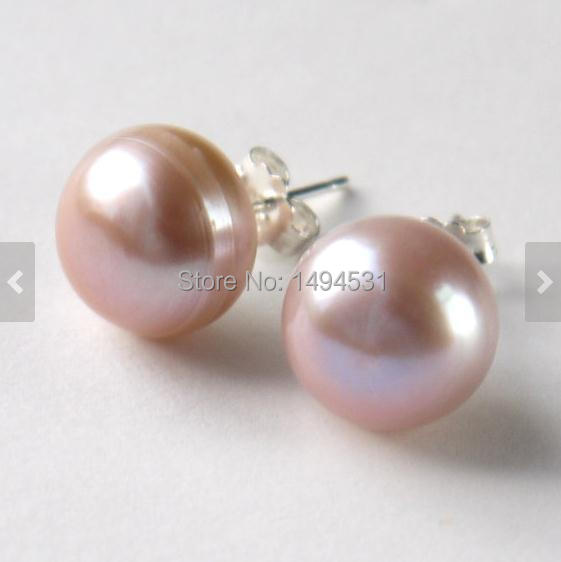 c8a76c7b2 Wholesale Pearl Jewelry, Large Pink Color AA 12MM Genuine Freshwater Pearl  Stud Earrings , 925