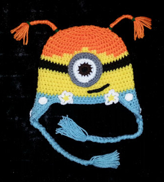 Free shipping,20pcs/lot New Children baby Beanie caps children hat,Crochet baby Minion Hat Crochet hat 100% cotton