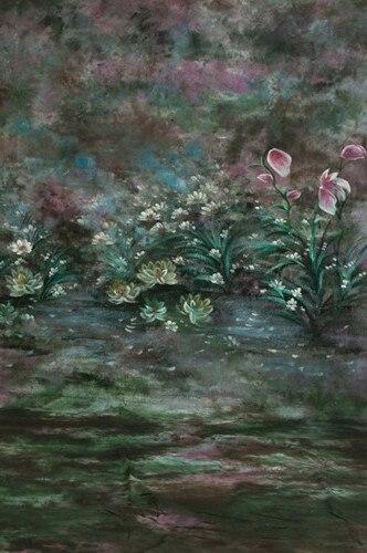 10x20ft/3x6 m 100% Coton peint à la main toile de fond de mousseline printemps scenic, fleur de mariage arrière-plans pour photo studio
