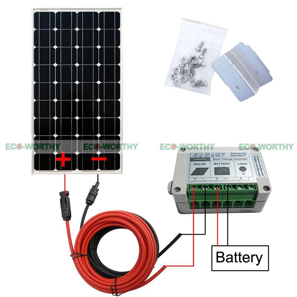 100W Mono Solar Panel Off Grid Kit W/ Controller for 12V Battery Charger