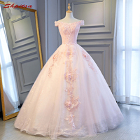 Pink Ball Gown Lace Quinceanera Dresses Off Shoulder 15 Sweet 16 Puffy Quinceanera Gown Prom Dresses