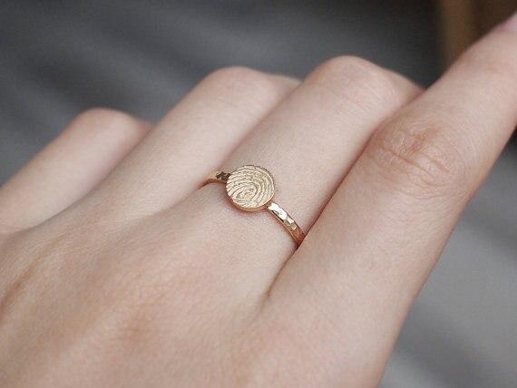 Personnalisé réelle dainty d'empreintes digitales anneau bague de fiançailles bague de fiançailles bague personnalisée cadeau de noël cadeau d'anniversaire