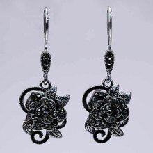 Vintage Black AAA+ Micro Pave Cubic  Zirconia Flower Drop Earrings for Women Silver Wedding Jewelry Ladies  Gifts