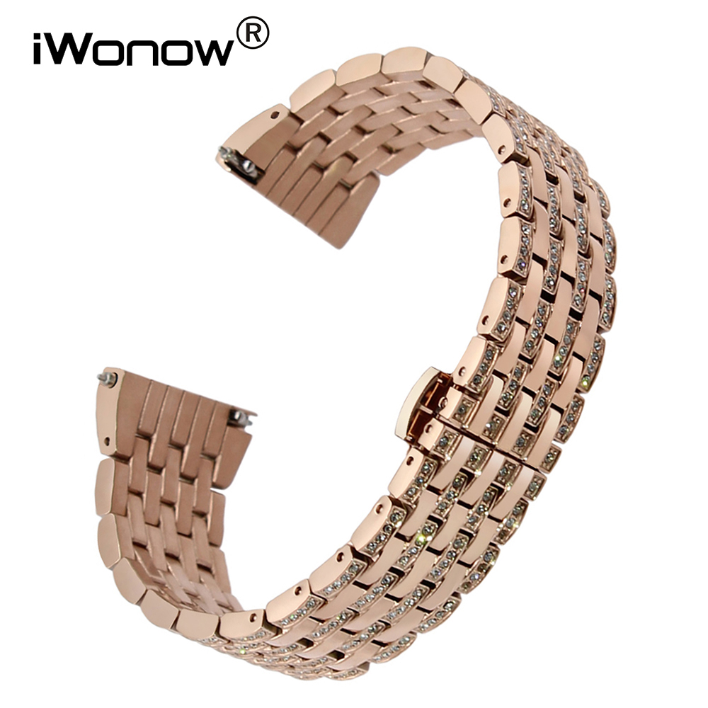 18mm Crystal Diamond Watchband for Huawei Watch / Fit Honor S1 Asus ZenWatch 2 Woman WI502Q Quick Release Band Steel Wrist Strap 18mm nylon watchband for asus zenwatch 2 women wi502q 1 45 45mm fabric watch band nato strap wrist bracelet multi color tool