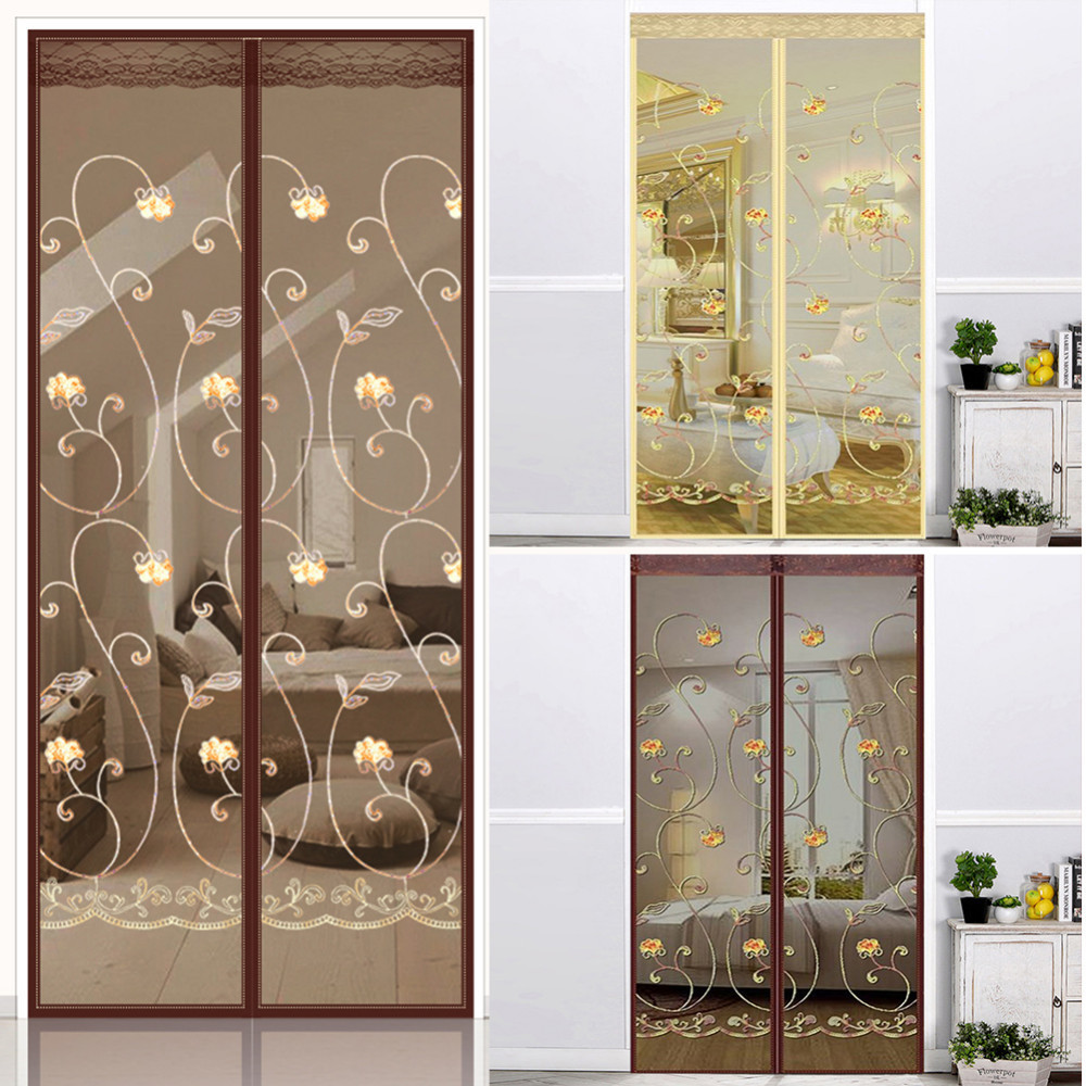 Hook Loop Fastener Embroidery Ventilate Curtains Anti Mosquito Magnetic Tulle Curtain Door Screen Magnetic Fly Screen Mesh Net in Window Screens from Home Garden