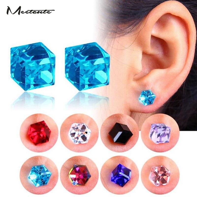 Meetcute 2018 New Zircon Cube Magnetic Stud Slimming Earrings Lose Weight Health Non-Pierced Earring Magnets Jewelry Men Women
