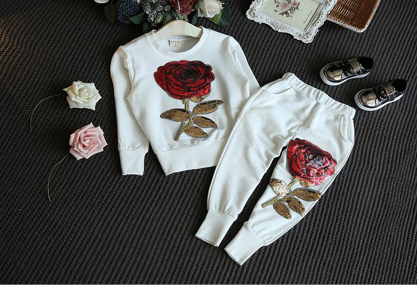 2017 spring autumn fashion clothing set for children baby girls floral set long sleeve hoddies +pants sport suit for kids 3T-8T цены онлайн