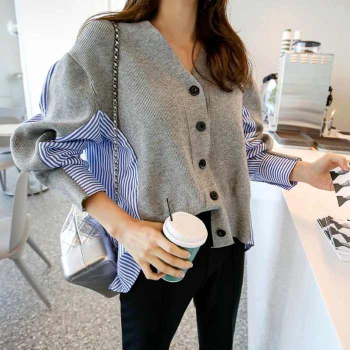 Female Patchwork Sweater Button Cardigan Laine Lovely Jumper V Neck Black Grey Sweaters Casual Women Autumn Knitting Stripe Tops