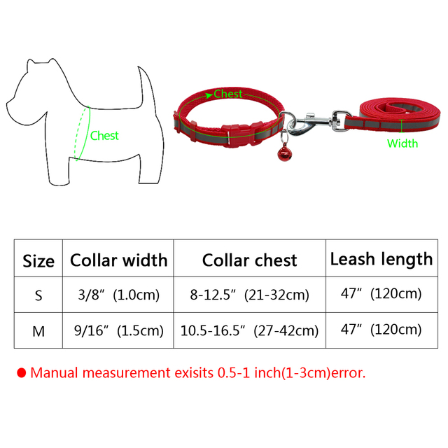 7 Colors Nylon Reflective Dog Collar Walking Leash Lead Set Ajustable For Small Medium Dogs Puppy Chihuahua Yorkie S M