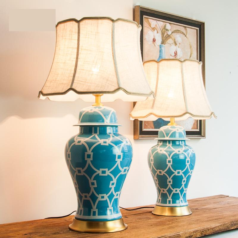 Ceramic Table Lamp All Copper Sky Blue Temple Jar Modern