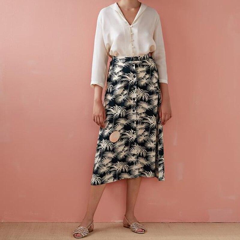 Женская юбка, коллекция весна лето 2019, винтажная однобортная юбка с пальмовым принтом - 4
