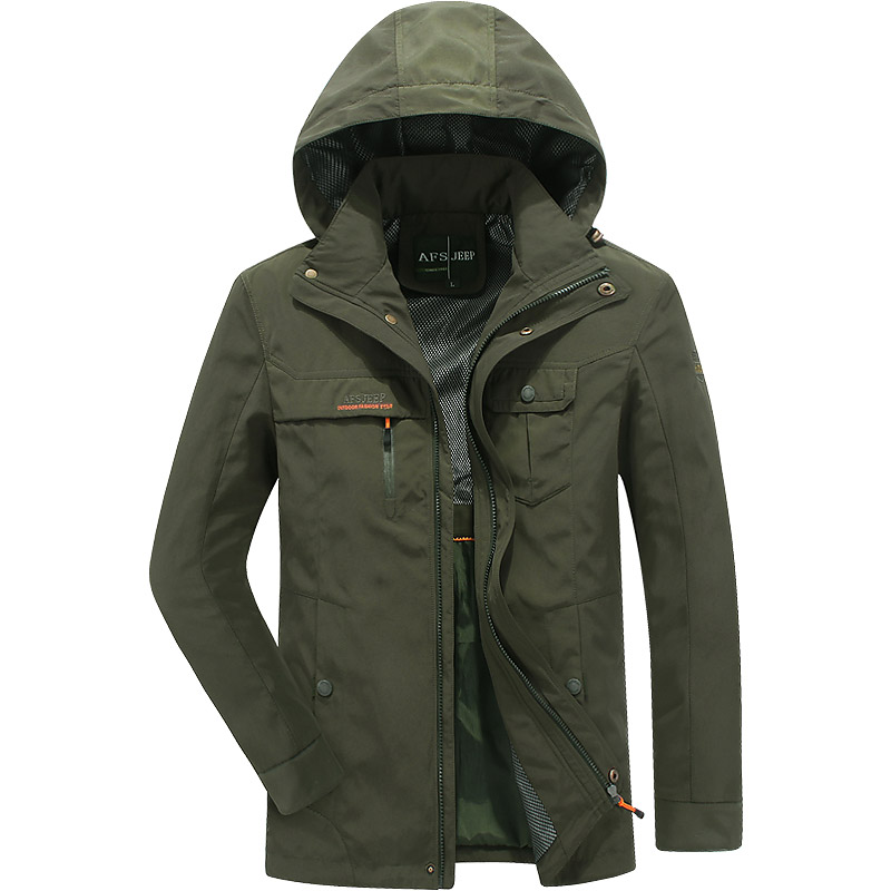 Waterproof windbreaker jacket men brand multi pockets army jacket coat men Spring hooded jacket military outwear