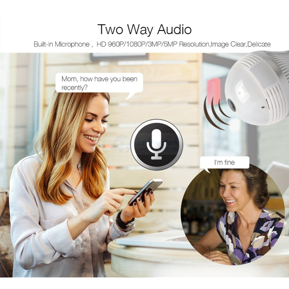 960P 1080P 3MP 5MP Lampe Licht Wireless IP Kamera Wi-Fi FishEye 360 Grad CCTV 3D VR Kamera 1.3MP home Security WiFi Kamera