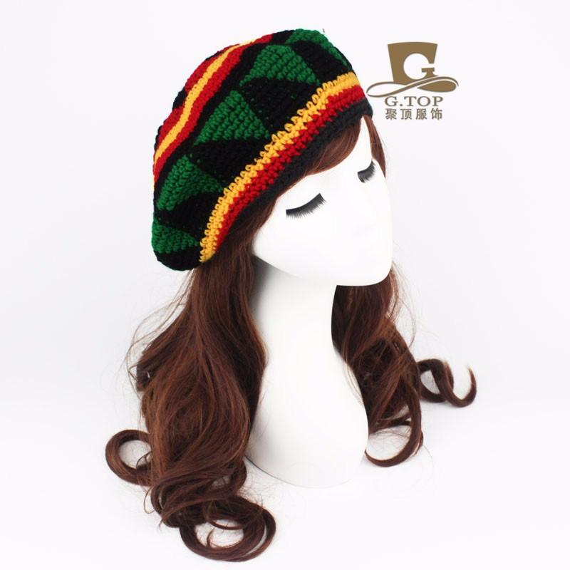 Fashion Unisex Rasta beret hat Jameican costumes hat Winter Warm ...