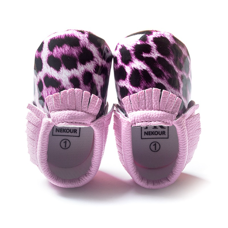 Purple Leopard Print Baby Girl Shoes Newborn Anti-Slip Socks Leather Childrens Moccasin Toddler Shoe Wholesale