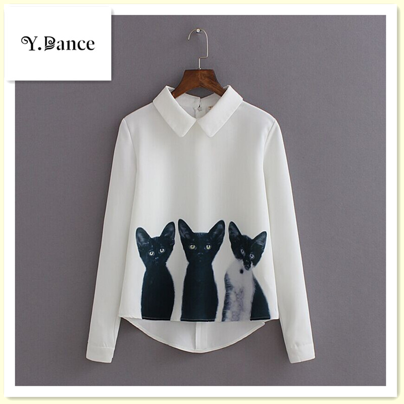 2017 Sell like hot cakes Cats Printed Pullover Shirts Long Sleeve Casual Women Korean White Blouse Hot T2