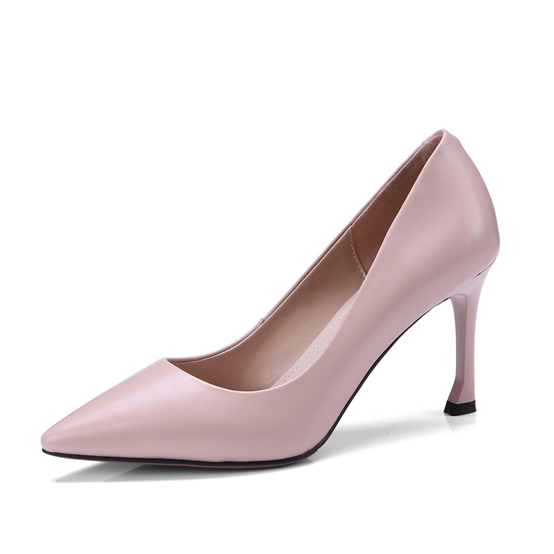 Noir Dames nude Robe Pink Yellow Femmes Mode Disigner De Chaussures En Élégant Haute Noir lemon Color Printemps Bureau Véritable Pompes Cuir Talons caramol Fn142 Pritivimin 2018 1qx6wRHH