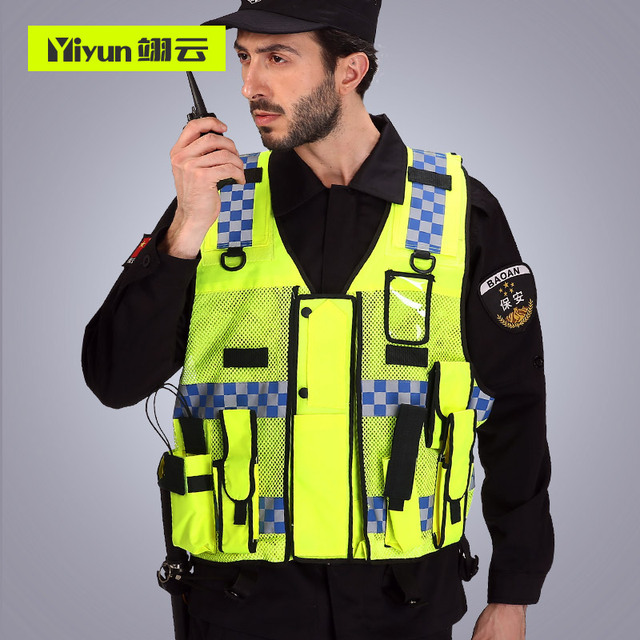 Reflective vest Traffic warning Road Administration fluorescent clothing vest vehicle Security Patrol Safety Protective Coat 2