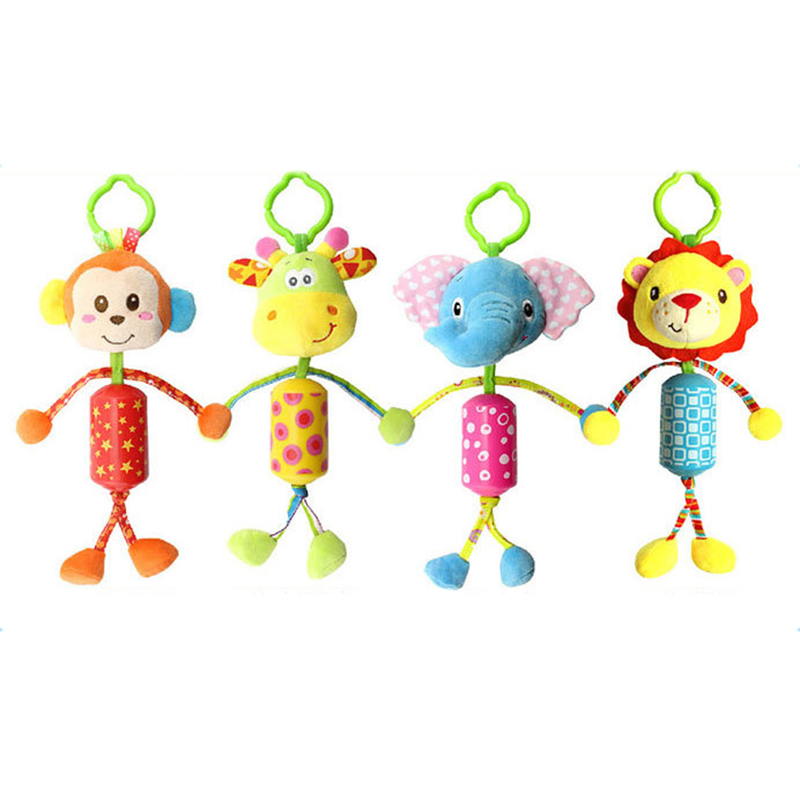 Infant Toys Monkey/Elephant/Deer/Pig Mobile Baby Plush Toy Bed Wind Chimes Rattles Bell Toy Stroller for Newborn Brinquedo Gift