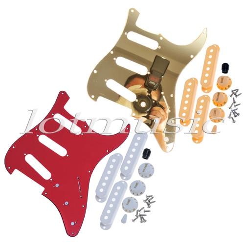 2* Guitar Pickguard,Red 3ply Pickguard& USA Standard Gold Mirror Pickguard + 3 Single Coil Pickup Covers sg standard full face guitar pickguard scratch plate zebra stripe with screws