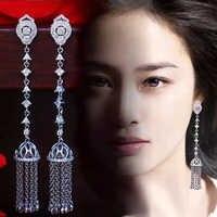 LXOEN Bohimian Zirkonia Tropfen Ohrringe Für Frauen Luxus Multi-schicht Quaste Silber farbe Lange Ohrringe Für Party Ohrringe