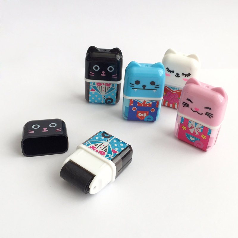 1PC Cute Kawaii Cat Kitten Roller Eraser Correction Kids Prize Promotional Gift Student School Stationery