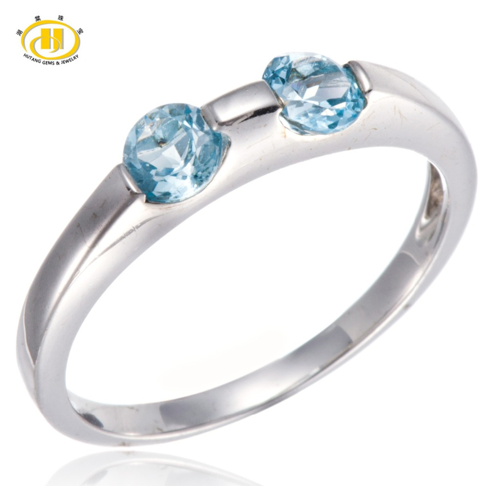 Hutang Natural Blue Topaz Rings for Women Wedding Fine Jewelry 925 Sterling Silver Ring 2 Diamond Stones Anel Mujer Bijoux