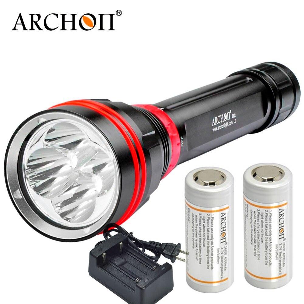ARCHON DY02 WY08 Plongée torche 4 * CREE XP-L LED max 4000 lumens Plongée lampe de Poche 100 Mètres lumière sous-marine avec batterie Chargeur