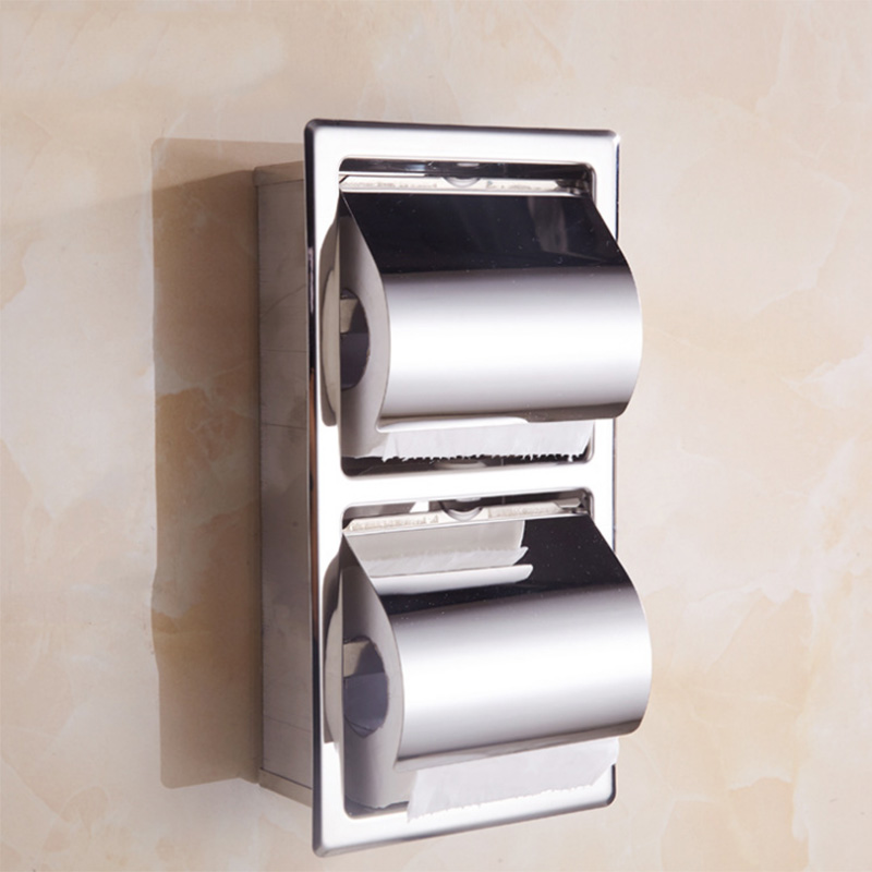 SUS 304 Stainless Steel Toilet Paper Holder Concealed Waterproof Bathroom Double Paper Towel Holders WC Tissue Box For Kitchen