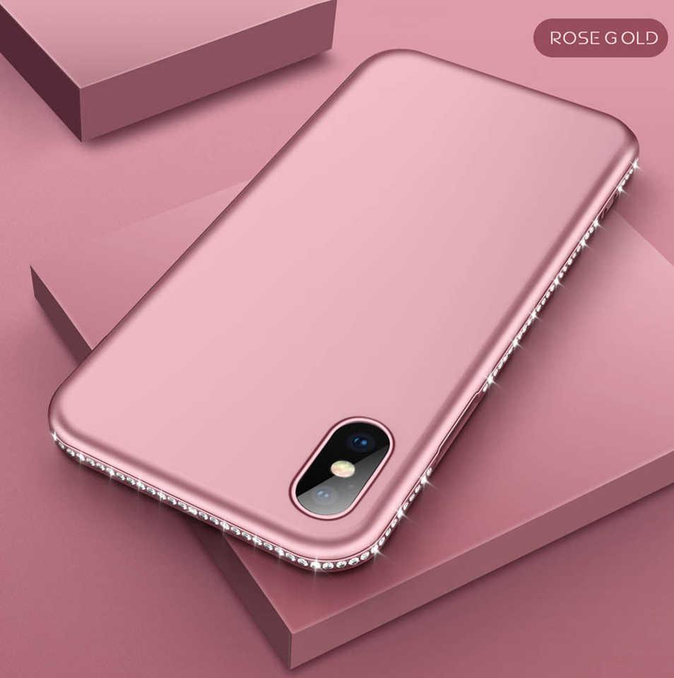 Kim cương Trường Hợp đối với iphone X 6 S 8 Cộng Với XR XS MAX Long Lanh Bumper TPU Huawei P20 P30 Pro Người Bạn Đời 20 10 Lite Nova 3 Honor 9 Lite 8X 7X 7C